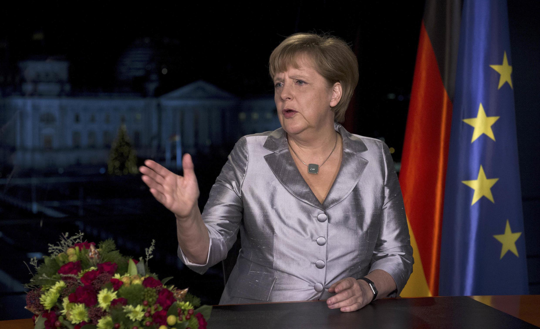 A chanceler alemã Angela Merkel depois de gravar seus discurso de Ano Novo, em Berlim, no dia 30 de dezembro.