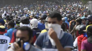 Les rassemblements des partisans de l'opposant Juan Guaido ont fait plusieurs victimes cette semaine. Photo prise à Caracas, le 1er mai 2019.