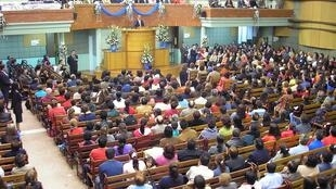 """La Iglesia de """"Dios Ministerial de Jesucristo Internacional"""" de Las Ferias, Bogotá, Colombia."""