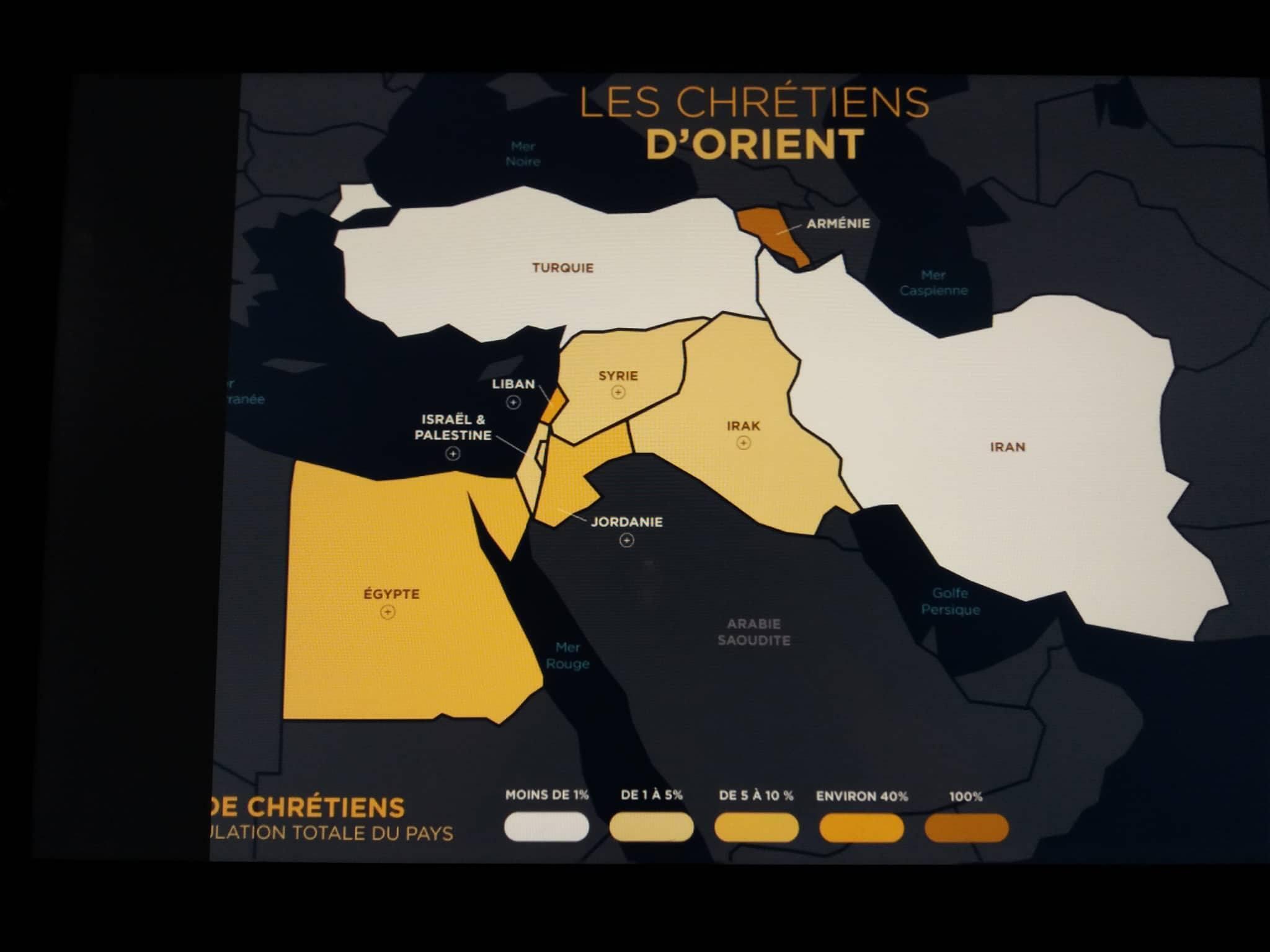 Карта, показывающая количество христиан на Ближнем Востоке.