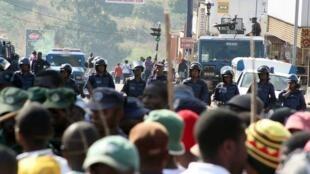 Manifestation à Manzini, la principale cité du Swaziland, le 7 septembre 2011.
