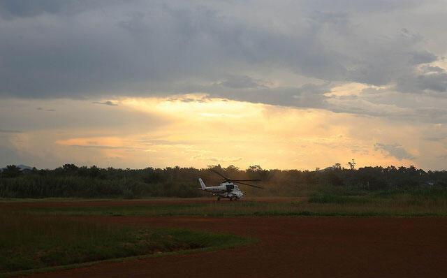 Un hélicoptère décolle du quartier général de la Monusco à Beni pour une mission de reconnaissance dans la zone, le 10 novembre 2014.