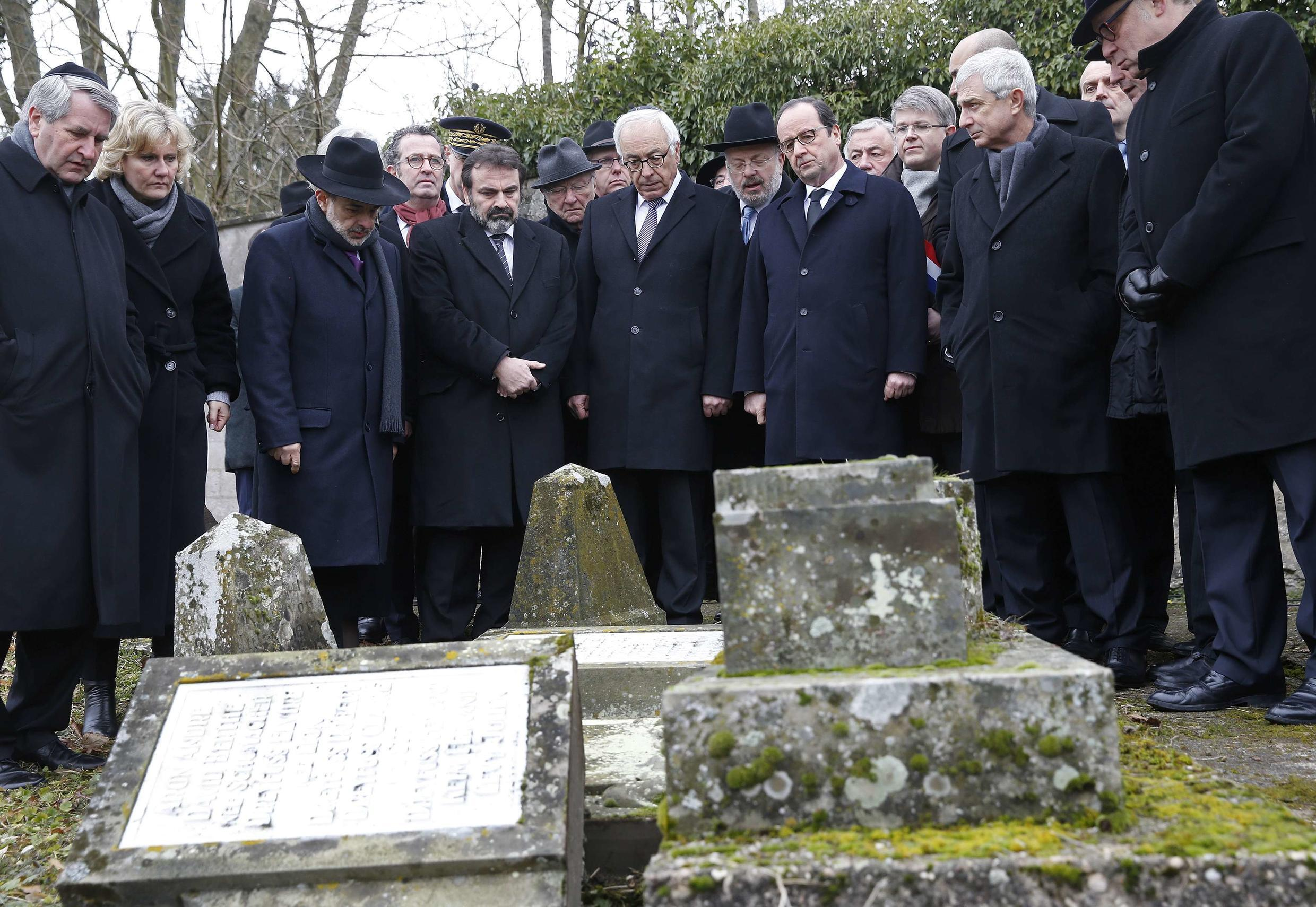 French President François Hollande at a Jewish cemetery in the city of Sarre-Union in the Alsace region on 17 February 2015.