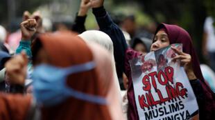 Manifestation de soutien à la minorité Rohingya en Birmanie, à Jakarta (Indonésie) le 4 septembre 2017.