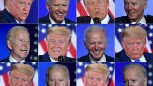 Una combinación de fotografías de Donald Trump y Joe Biden tomadas durante sus discursos en la noche de las elecciones presidenciales, la madrugada del 4 de noviembre de 2020 en Washington y Wilmington (Delaware), respectivamente