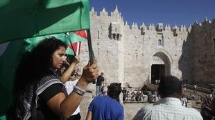 The Damascus Gate in Jerusalem's Old City, scene of the first of yesterday's two knife attacks on Israelis.