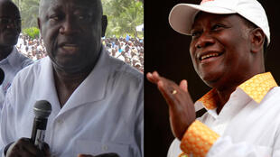 The two final presidential candidates: Laurent Gbagbo (left) and Alassane Ouattara (right)