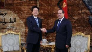 日本首相安倍晉三與埃及總統塞西2015年1月17日開羅