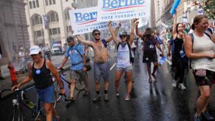 Manifestantes pro Bernie Sanders, en Filadelfia, este 24 de julio de 2016.