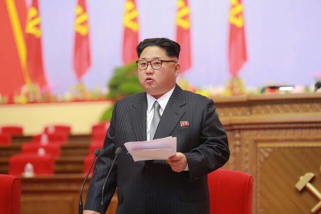 Выступление Ким Чен Ына на съезде партии 6 мая. Фото предоставлено центральным телеграфным агентством Кореи
