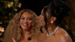 Beyoncé et Megan Thee Stallion aux Grammy 2021.