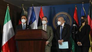 Les ministres de l'Italie, de l'Allemagne et la France étaient présents à Tripoli ce jeudi 25 mars 2021.