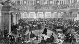 سنای آمریکا در حال استیضاح اَندرو جانسون، هفدهمین رئیس جمهوری این کشور.