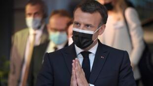 El presidente francés Emmanuel Macron , el 9 de mayo de 2021 en Estrasburgo, Francia