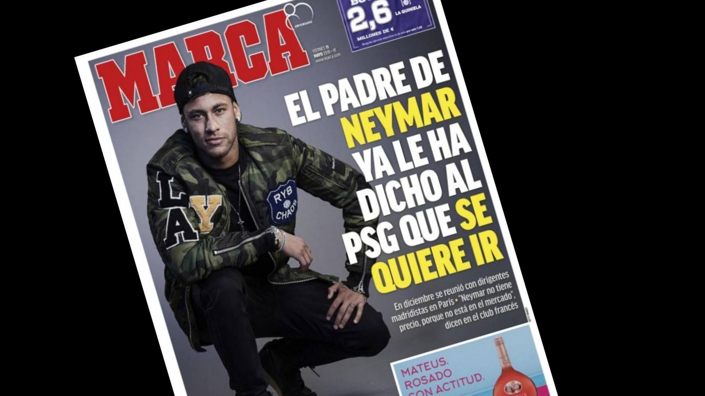 """O jornal espanhol Marca traz em manchete o jogador Neymar com o título """"O pai de Neymar já teria comunicado o desejo do jogador de deixar o PSG""""."""