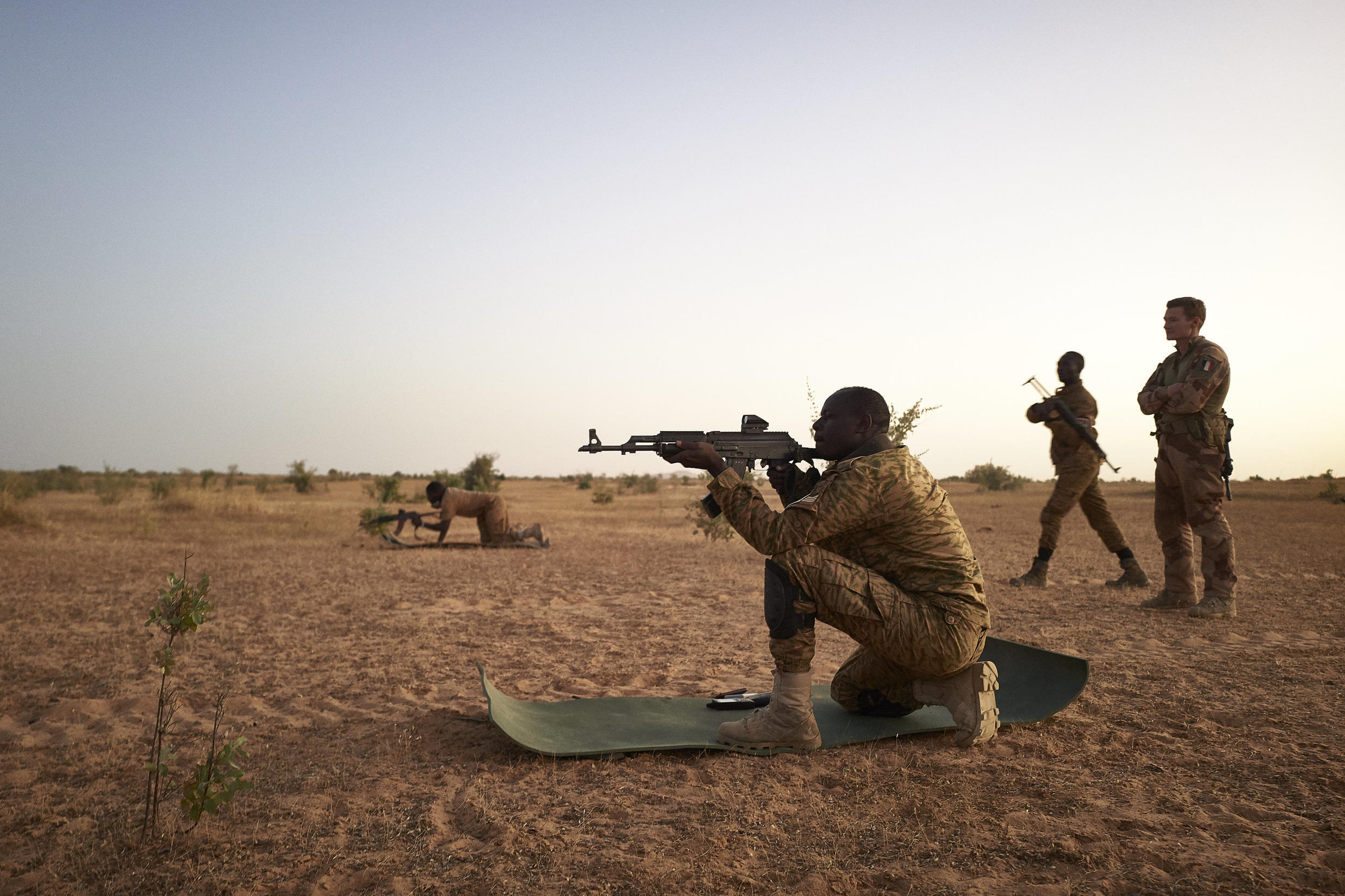 Burkinabe soldiers in a live-fire drill with the French army. The country's armed forces are struggling to contain a jihadist insurgency that has claimed more than 1,400 lives 2015