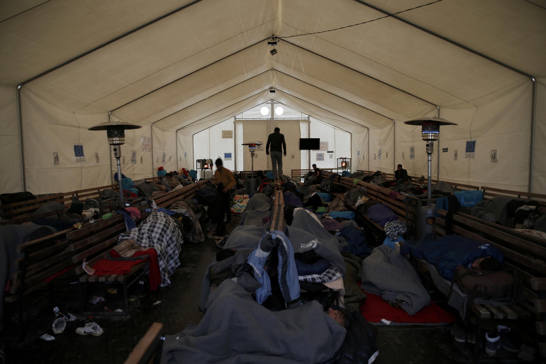 Dans le camp de réfugiés près du village de Tabanovce, en Macédoine, le 24 février 2016.