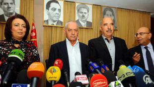 El Cuarteto del Diálogo Nacional tunecino en conferencia de prensa el 21 de octubre de 2013 en la capital tunecina.