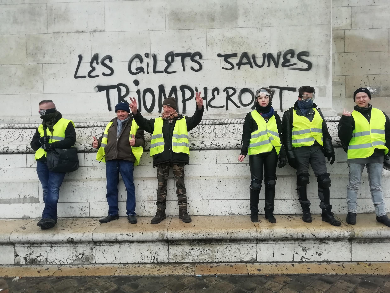 """The yellow vests truimph"" - graffiti on the Arc de Triomphe."
