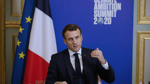 French President Emmanuel Macron makes a statement for the virtual Climate Ambition Summit_2020_AP Yoan Valat