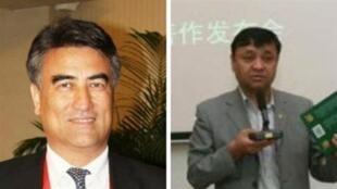 图为网传原新疆大学校长塔西甫拉提·特依拜(Tashpolat Tiyip)以及新疆医科大学原校长哈木拉提·乌普尔(Halmurat Ghopur)照片