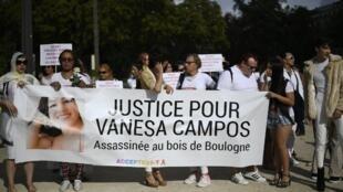 Marcha en el Bois de Boulogne, en las afueras de París, en homenaje a Vanesa Campos, transexual peruana asesinada el 27 de agosto de 2018.