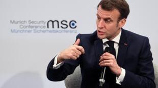 Le président français Emmanuel Macron s'exprime lors de la conférence annuelle de Munich sur la sécurité, le 15 février 2020.
