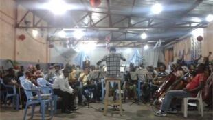 Kimbanguist Symphony Orchestra rehearsing