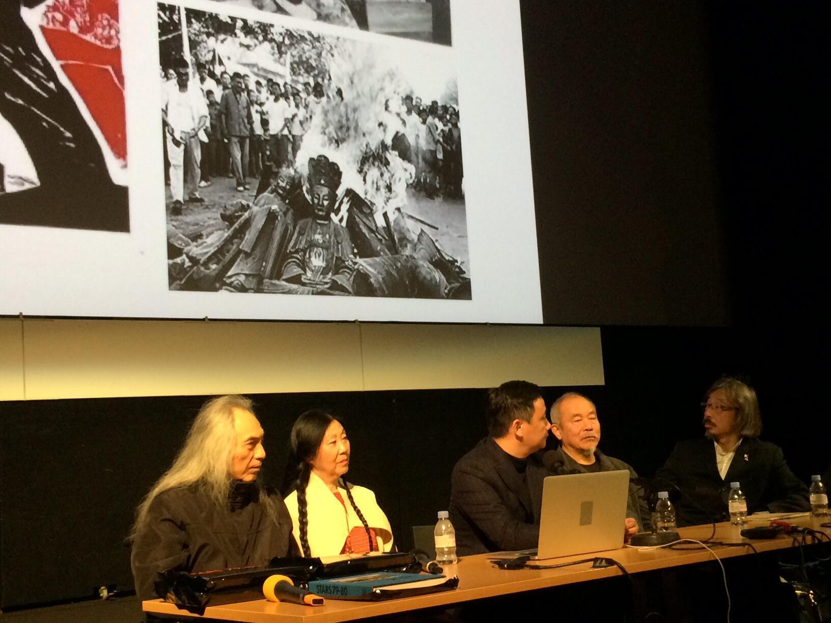 从左至右:马德升,李爽,皮力,王克平,黄锐,2020年1月17日,巴黎蓬皮杜中心