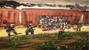 Une toile de Ceija Stoika. L'artiste peint sa vie à la manière dont les souvenirs reviennent, par séquences et dans le désordre.