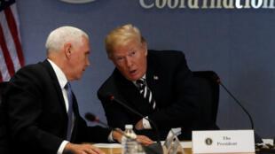 美国总统特朗普与副总统彭斯6月6日交谈的情景