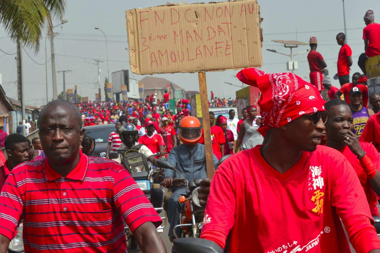 Manifestation du Front national pour la défense de la Constitution (FNDC) le 6 janvier 2020 à Conakry.