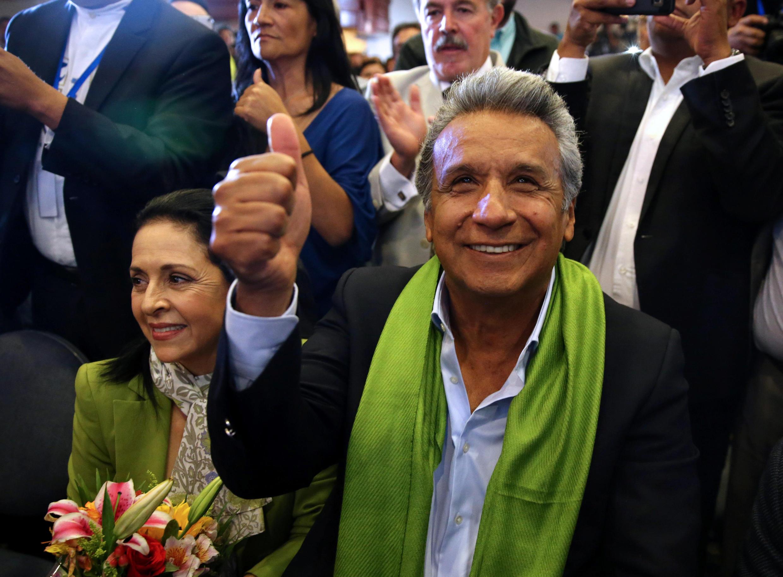 O ex-vice-presidente e candidato do governo Lenín Moreno lidera com 51,07% dos votos a apuração parcial do segundo turno da eleição presidencial do Equador.