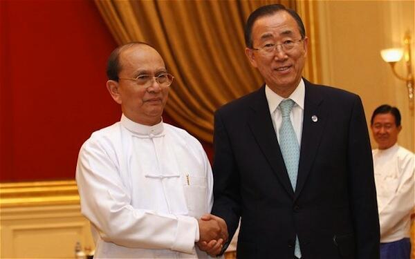 Rais wa Myanmar Thein Sein akiwa na Katibu Mkuu wa Umoja wa Mataifa UN Ban Ki Moon walipokutana kwenye makazi ya Rais