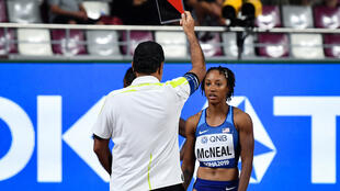 Brianna McNeal was disqualified during the Women's 100m Hurdles heats at the 2019 World Championships in Doha
