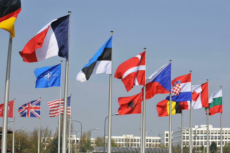 Les drapeaux des 28 membres de l'OTAN, dont 22 de l'UE.