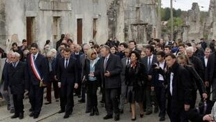 French President Emmanuel Macron visited the Oradour Martyr's Village and WW2 memorial during his presidential campaign on 28 april 2017.