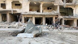 Dans un quartier d'Alep.