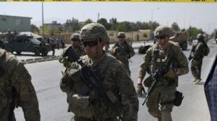 Des soldats américains à Kaboul, le 24 septembre 2017, sur les lieux de l'attaque d'un convoi de l'Otan (photo d'illustration).