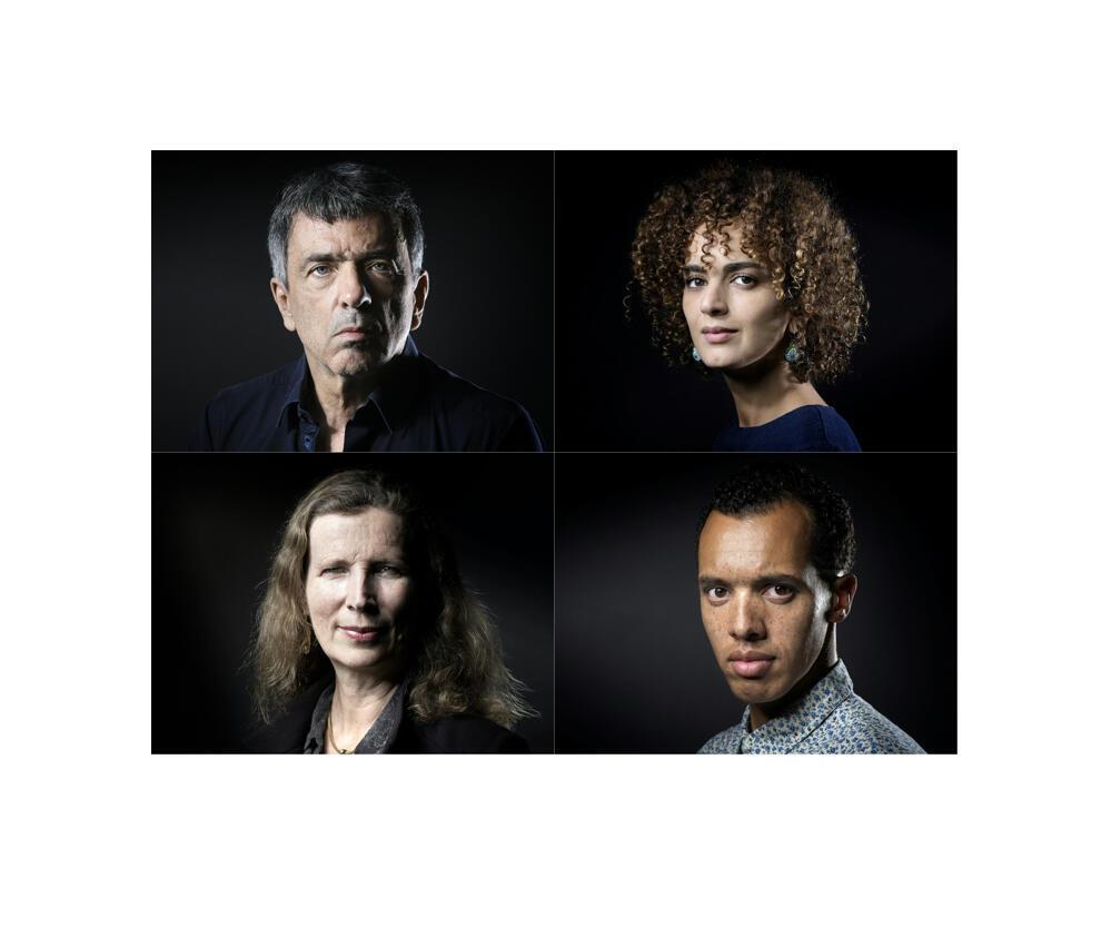 Les quatre finalistes du prix Goncourt 2016: (en haut, à g.) Régis Jauffret («Cannibales», Seuil); (en haut, à dr.) Leïla Slimani (« Chanson douce », Gallimard); Catherine Cusset («L'Autre qu'on aimait», Gallimard); Gaël Faye («Petit pays», Grasset).