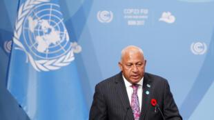 Frank Bainimarama, le président fidjien, s'exprimant en tant que président de la COP 23, à Bonn, en Allemgne, le 6 novembre 2017.