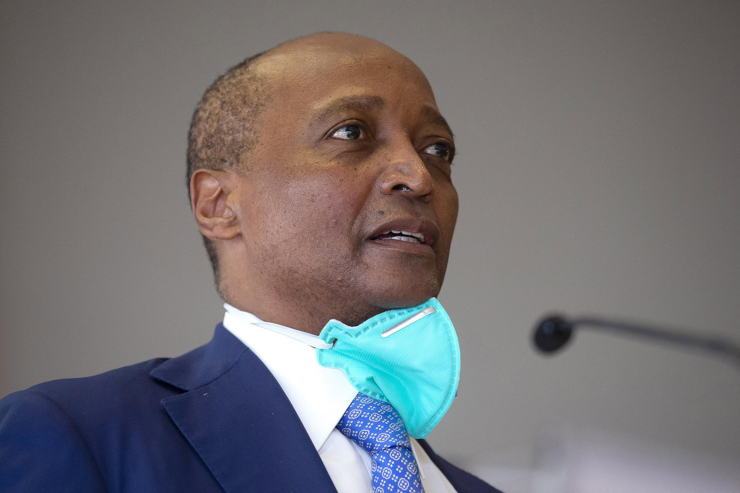 CAF presidency candidate Patrice Motsepe addresses a press conference in Johannesburg Thursday
