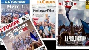 Os jornais franceses desta terça-feira (17) destacam a festa popular nas ruas de Paris para receber a seleção francesa, bicampeã do mundo.