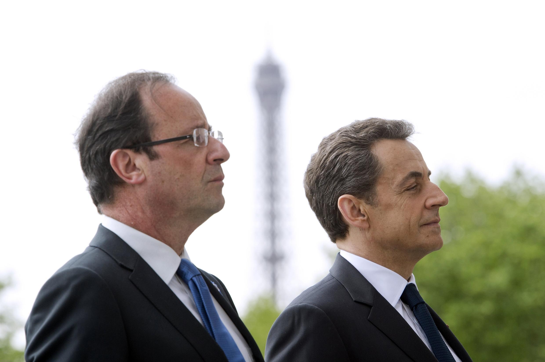 François Hollande rais mpya wa Ufaransa akiwa na rais anayemaliza muda wake Nicolas Sarkozy