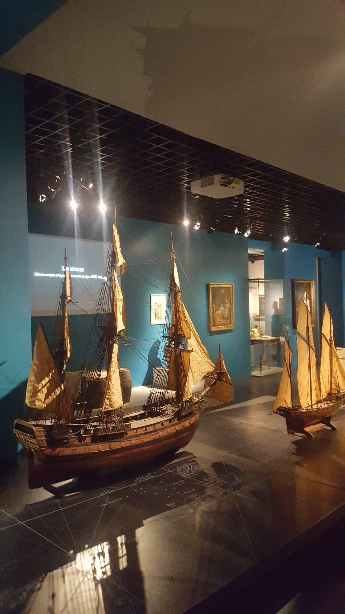Models of former slave ships are shown in the Aquitaine museum's permanent collection called 'Bordeaux in the 18th century, the Atlantic slave trade and slavery,' 20 February 2019
