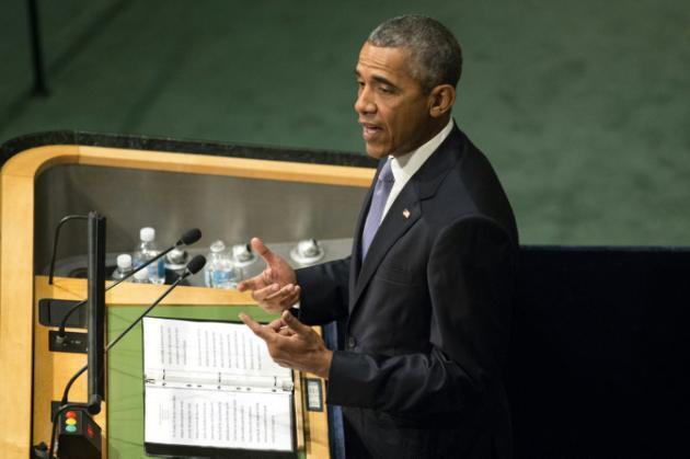 Rais wa Marekani Barack Obama katika jukwaa la Umoja wa Mataifa mjini New York, Septemba 28, 2015.