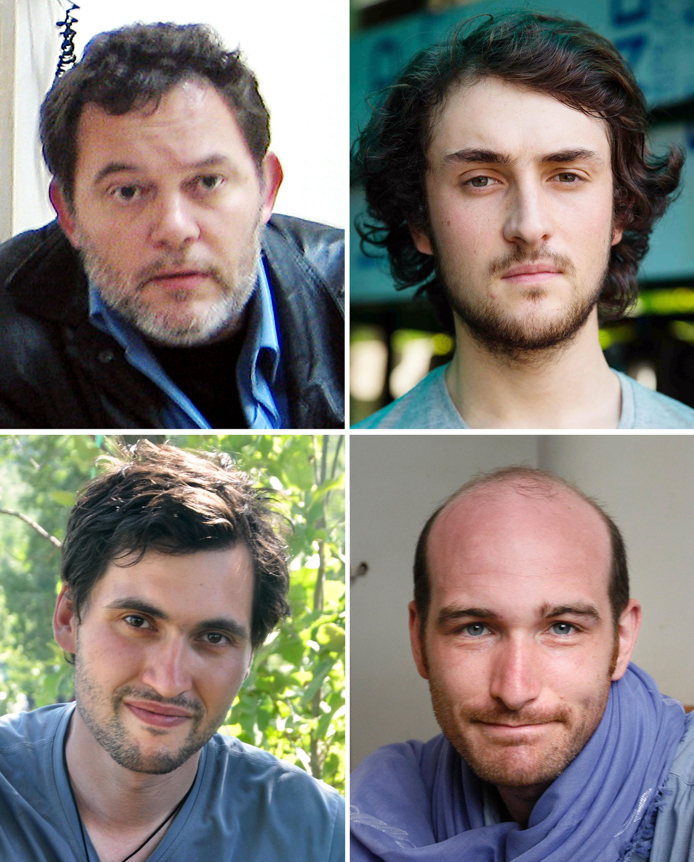 Французские журналисты-заложники ИГ в Сирии: Дидье Франсуа (вверху слева), Эдуар Элиас (вверху справа), Пьер Торрес (внизу слева) и Николя Энен (внизу справа)