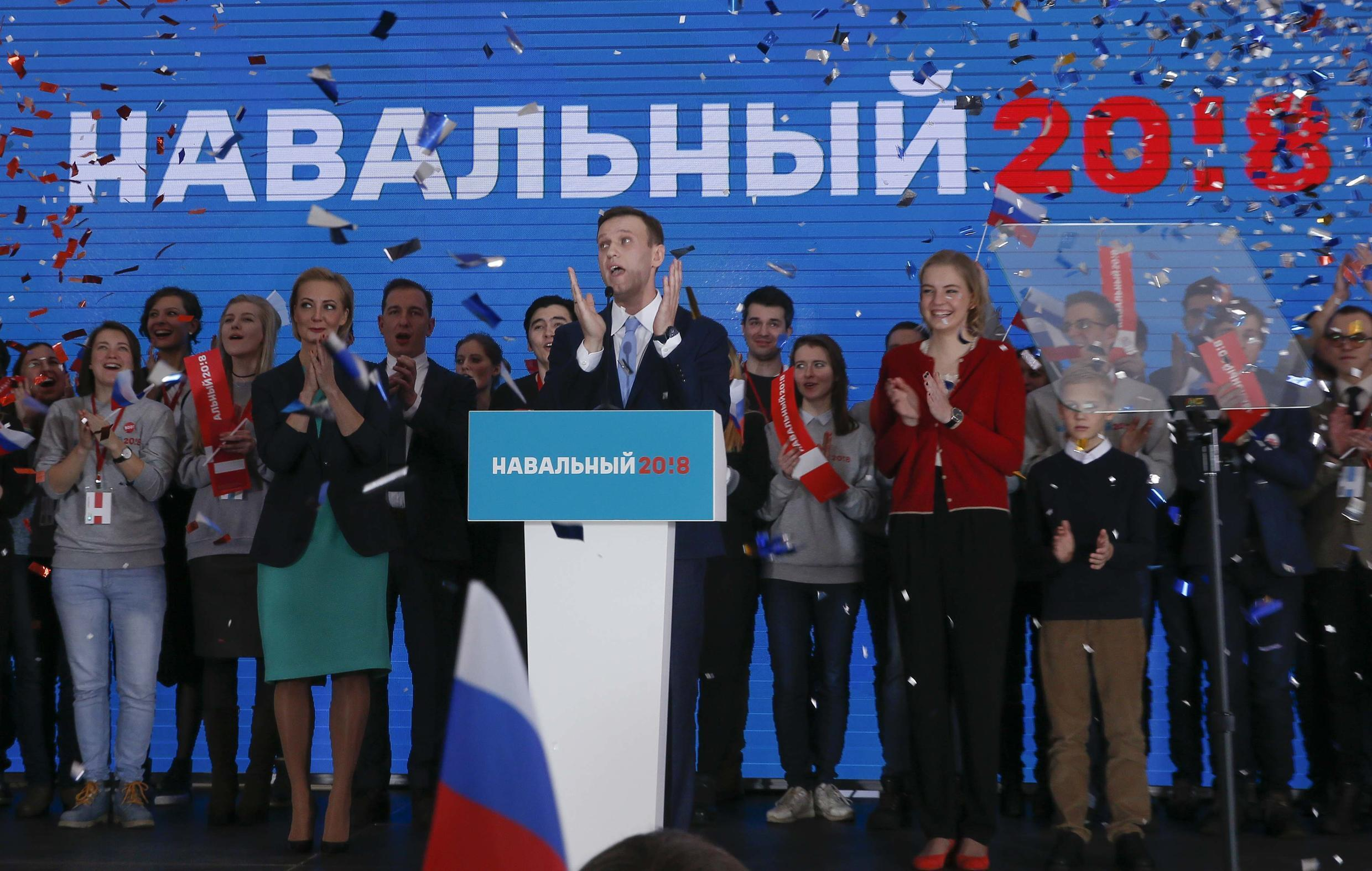 Russian opposition leader Alexei Navalny at meeting in Moscow to uphold his presidential bid, 24 December 2017.
