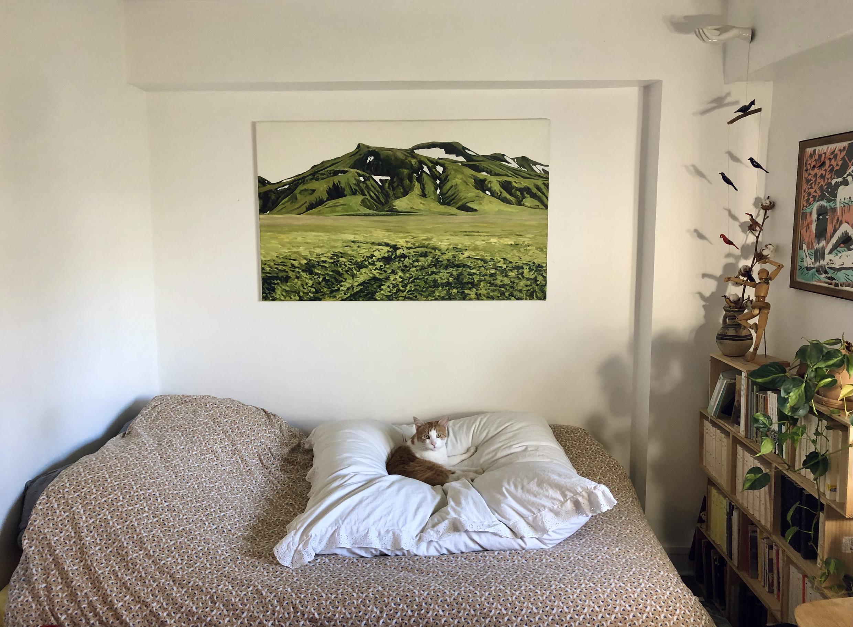 """Fanny Bleichner a participé à l'évènement """"Une œuvre à la maison"""". Elle a pu se faire prêter gratuitement durant l'opération une toile d'un paysage islandais de montagne de l'artiste Bruno Gadenne."""