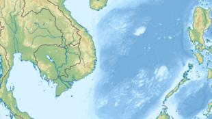 Bản đồ Biển Đông theo cách gọi của Việt Nam, nhưng Trung Quốc gọi là biển Trung Hoa.